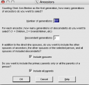 Select Ancestors screen