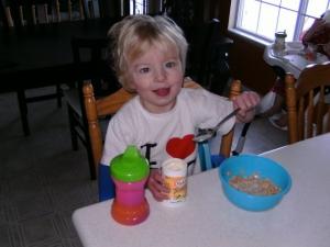 Madie Eating Breakfast