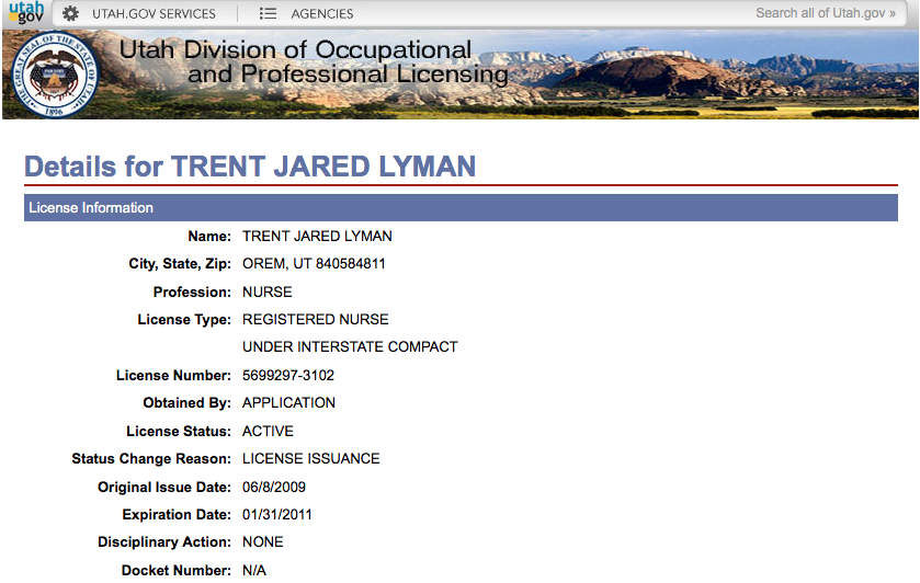 Trent's RN License